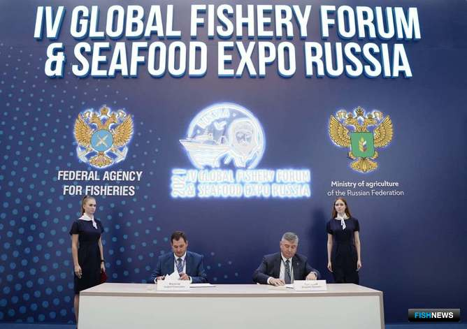 Генеральный директор кластера «Максимиха» Андрей ФИЛАТОВ и председатель правления Союза рыбопромышленников Севера Владимир ГРИГОРЬЕВ